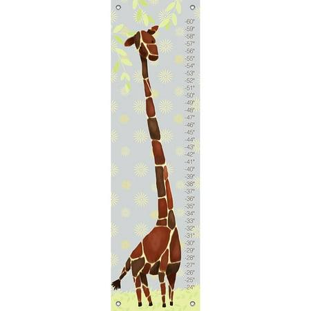 Oopsy Daisy - Growth Chart Gillespie Giraffe - Yellow & Grey 12x42 By Meghann -
