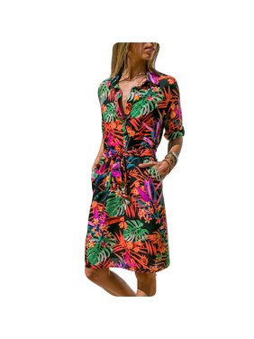 8d438db193e Product Image Floral Printed Mini Dress For Women V-neck Button Lapel  Bandage High Waisted Pocket Casual