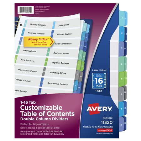 Avery Customizable Table of Contents Double-Column Dividers, Ready Index Printable Section Titles, Preprinted 1-16 Multicolor Tabs, 1 Set (11320) (52 Week Dividers)