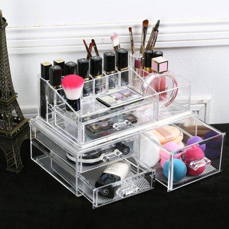 Nile Corp Ikee Design Large Acrylic Makeup Organizer Two Pieces Set 11 3/4
