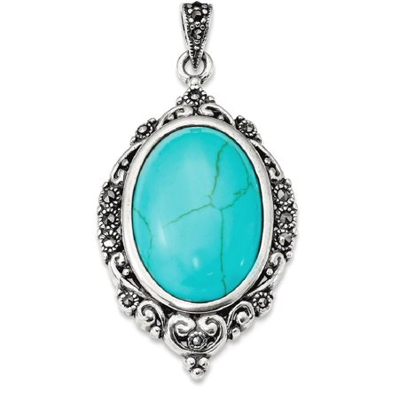 IceCarats 925 Sterling Silver Marcasite Simulated Blue Turquoise Pendant Charm Necklace  Gemstone  Fine Jewelry Gift Set For Women Heart