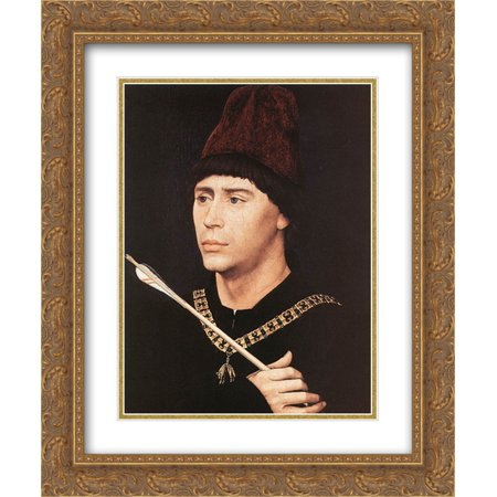 Rogier van der Weyden 2x Matted 20x24 Gold Ornate Framed Art Print 'Portrait of Antony of Burgundy' Burgundy Gold Art Print