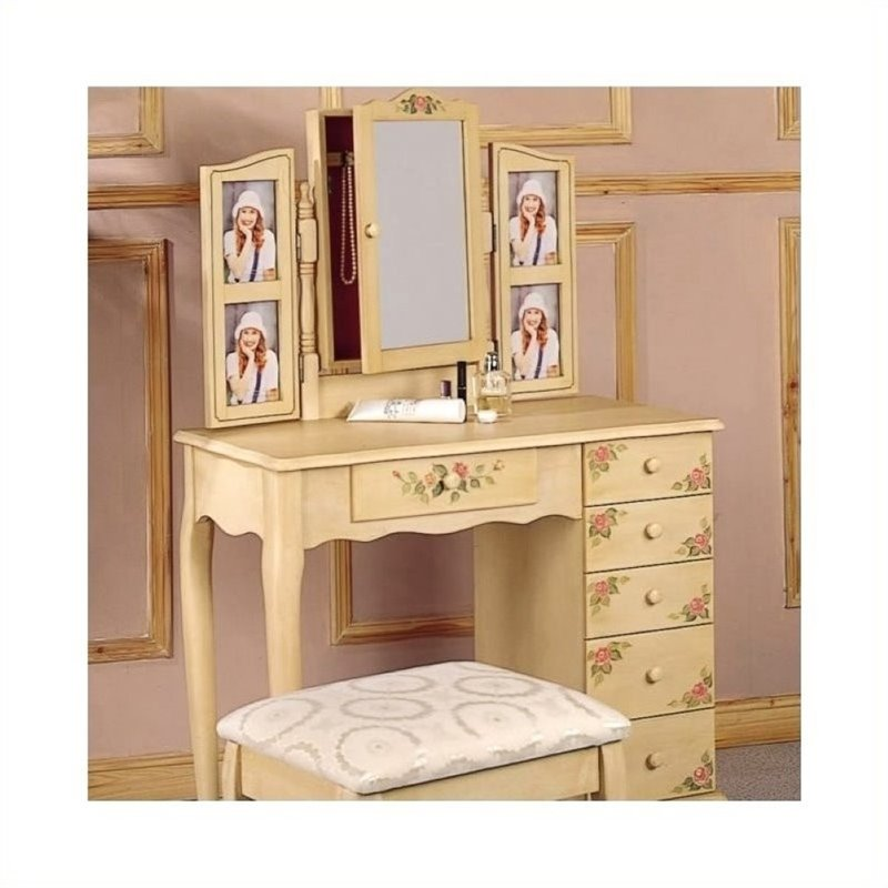 Bowery Hill Hand Painted Wood Makeup Vanity Table Set with Mirror in Ivory by Bowery Hill