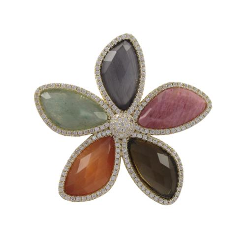 Luxiro Gold Finish Sterling Silver Gemstone and Cubic Zirconia Flower Brooch Pin by Overstock