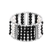 Honora Freshwater Pearl & Onyx Bead Cuff Bracelet in Sterling Silver