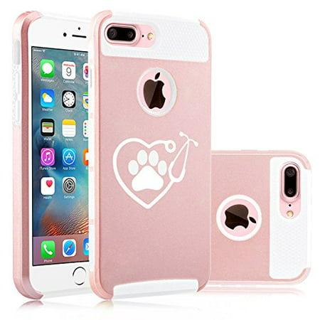 For Apple (iPhone 8 Plus) Shockproof Impact Hard Soft Case Cover Heart Stethoscope Vet Tech Veterinarian (Rose (Tech Soft Case)