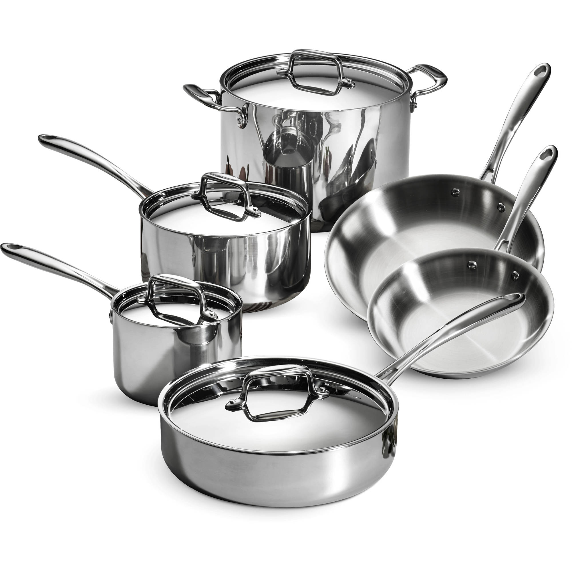 Tramontina 10-Piece Tri-Ply Clad Cookware Set, Stainless Steel ...