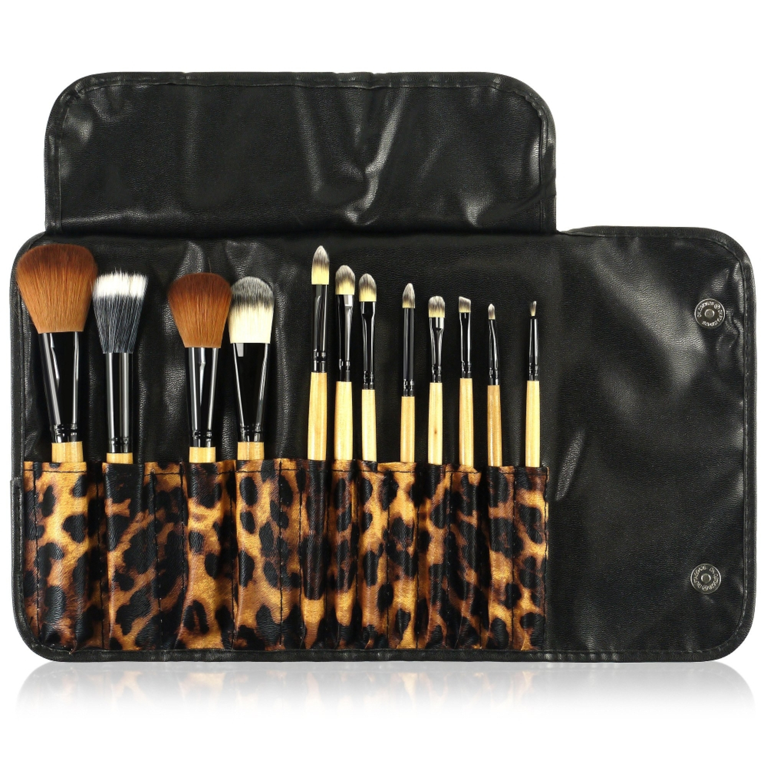 Zodaca 12 pcs Makeup Brushes Kit Set Powder Foundation Eye shadow Eyeliner Lip with Leopard Cosmetic Pouch Bag