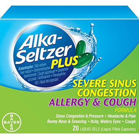 2 Pack Alka Seltzer Plus Severe Sinus Congestion Allergy And Cough 20 Gels Each