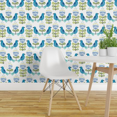 Peel and Stick Removable Wallpaper Blue Birds Mid Century Modern Mid C