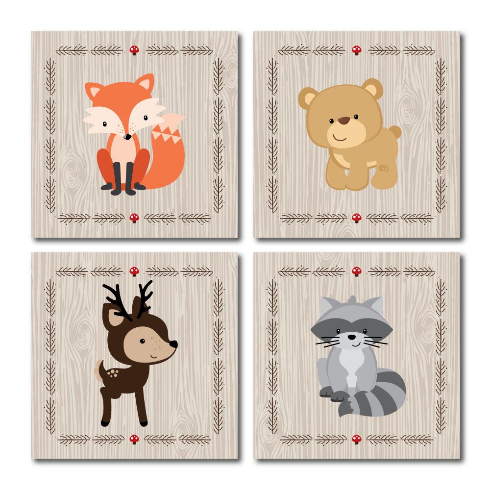 Woodland Creatures Nursery Decor 11 X Foam Board Wall Art Set Of 4 Prints For Baby S Room