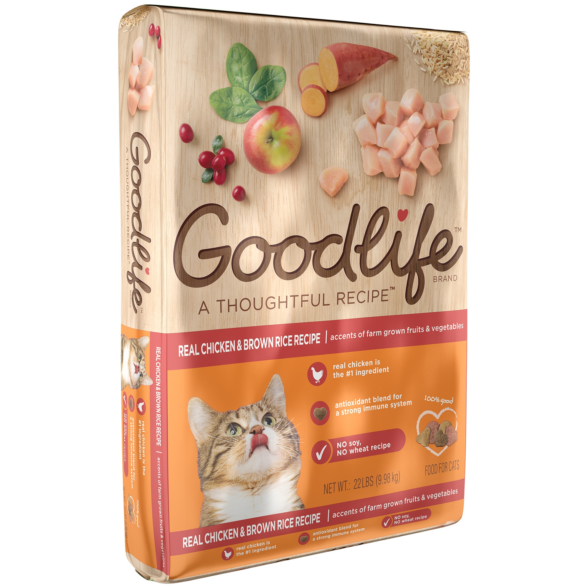 GOODLIFE Adult Cat Real Chicken and Brown Rice Recipe Dry Cat Food 22 Pounds by Mars Petcare