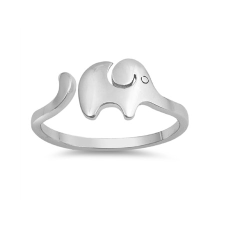 Sterling Silver Plain Baby Elephant Adjustable Ring