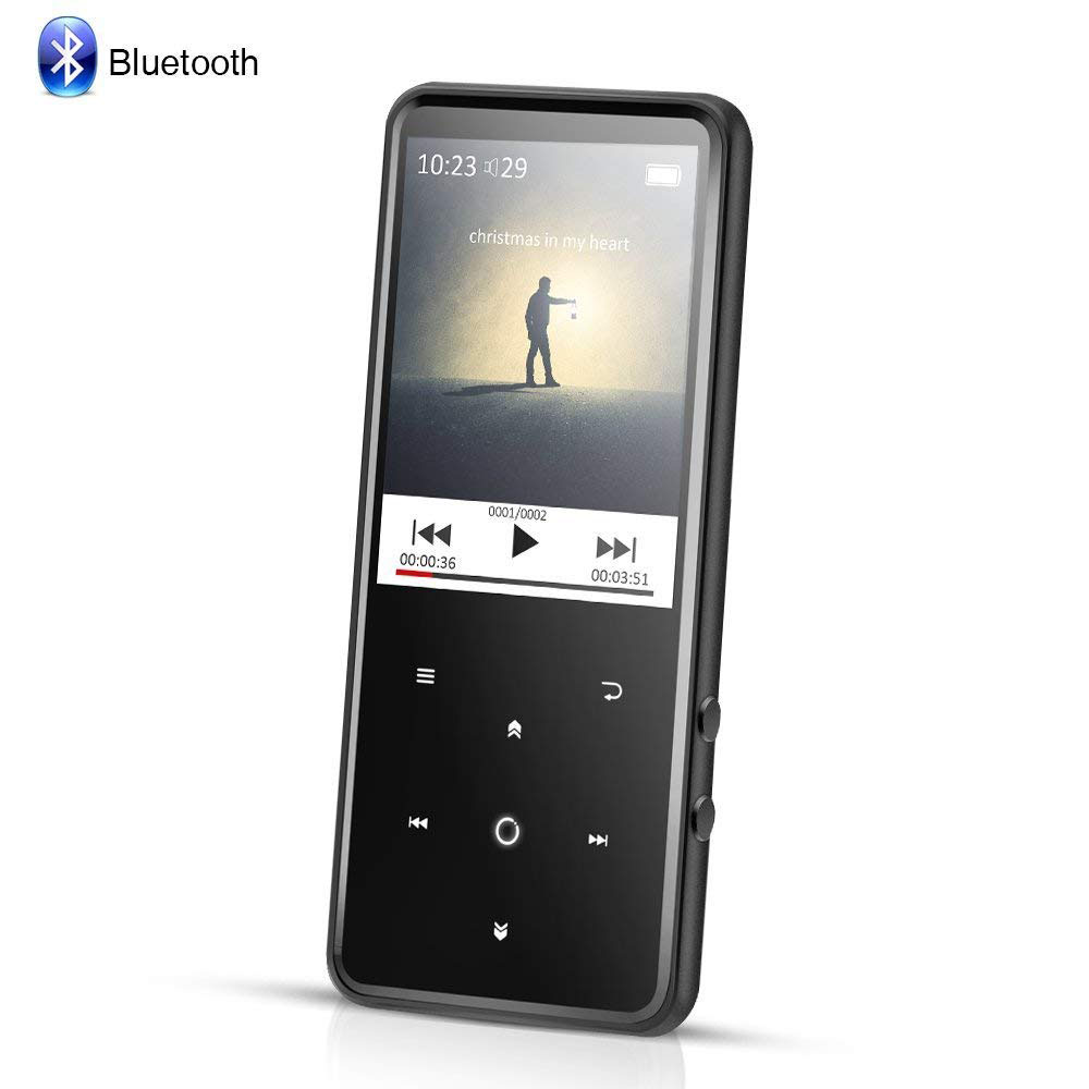 AGPTEK 8GB MP3 Player Bluetooth 4.0 with 2.4 Inch TFT Color Screen, FM/Voice Recorder Touch Button Music Player,Black
