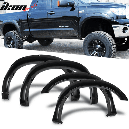 fits 07-13 tundra trd style pocket fender flares smooth black abs paintable