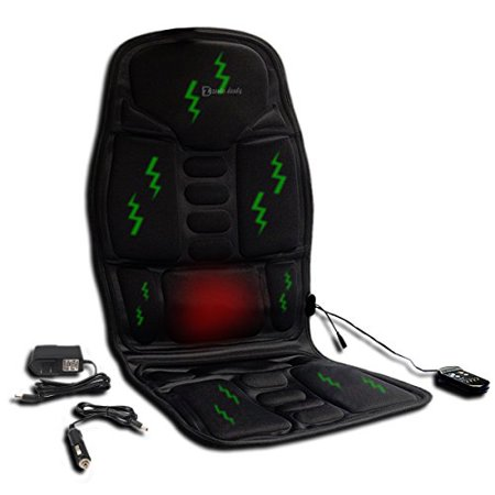 Zento Deals Vibrator Qualité Premium Black Universal Whole Body Massage Coussin de siège comprenant une voiture 12V, Accueil et Plug Bureau