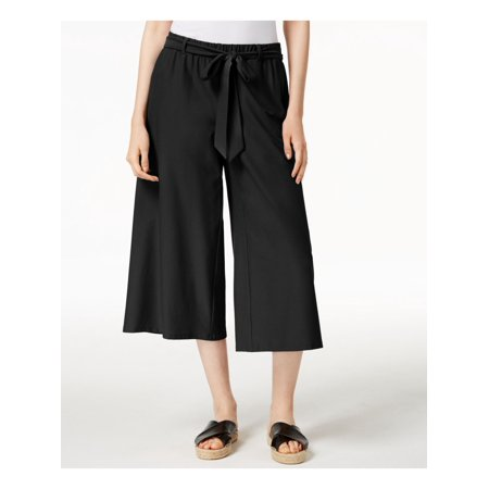 EILEEN FISHER Womens Black Belted Stretch Crepe Cropped Pants  Size: XL Black Stretch Crepe