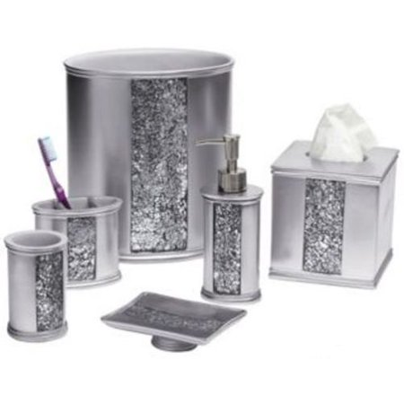Popular Bath Sinatra Silver Basket, Tissue, Cup, Soap Dish, Toothbrush, Lotion, 6 Piece (Soap Basket Finish)