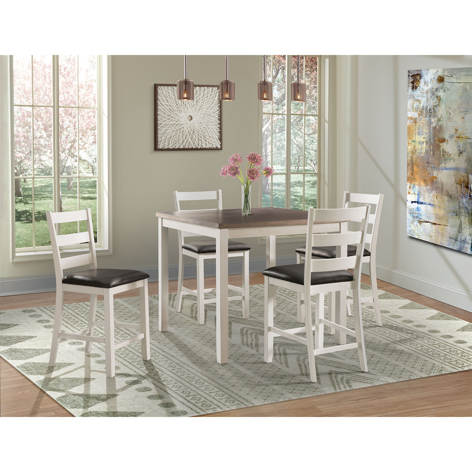 Picket House Furnishings Kona Brown 5 Piece Counter Height Dining Set Table Four Chairs Walmart Com Walmart Com