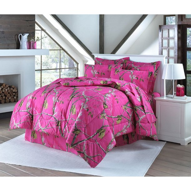Realtree Hot Pink Camouflage Sheet Set, Realtree Pink Camo Bedding Queen