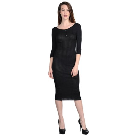 Womens Juniors Black Casual Ribbed Bodycon Maxi Dress ...