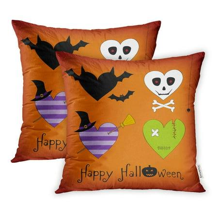 ARHOME Cute Halloween Costumed Hearts Horror Pumpkin Treat Trick Autumn Bat Bones Pillowcase Cushion Cover 16x16 inch, Set of - Cute Halloween Bats