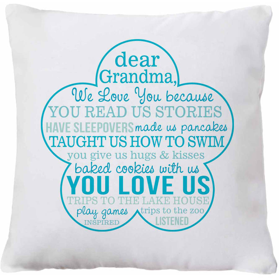 Love You Because Pillow, Our Grandma, Teal