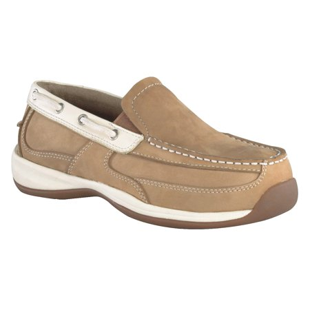 Rockport Works Women's Slip On Steel Toe Leather Work Boat Shoes
