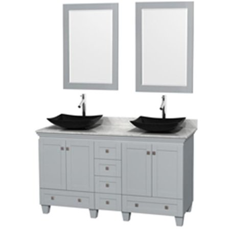 60 in. Double Bathroom Vanity In Oyster Gray, White Carrera Marble Countertop, Arista Black Granite Sinks With 24 in. Mirrors