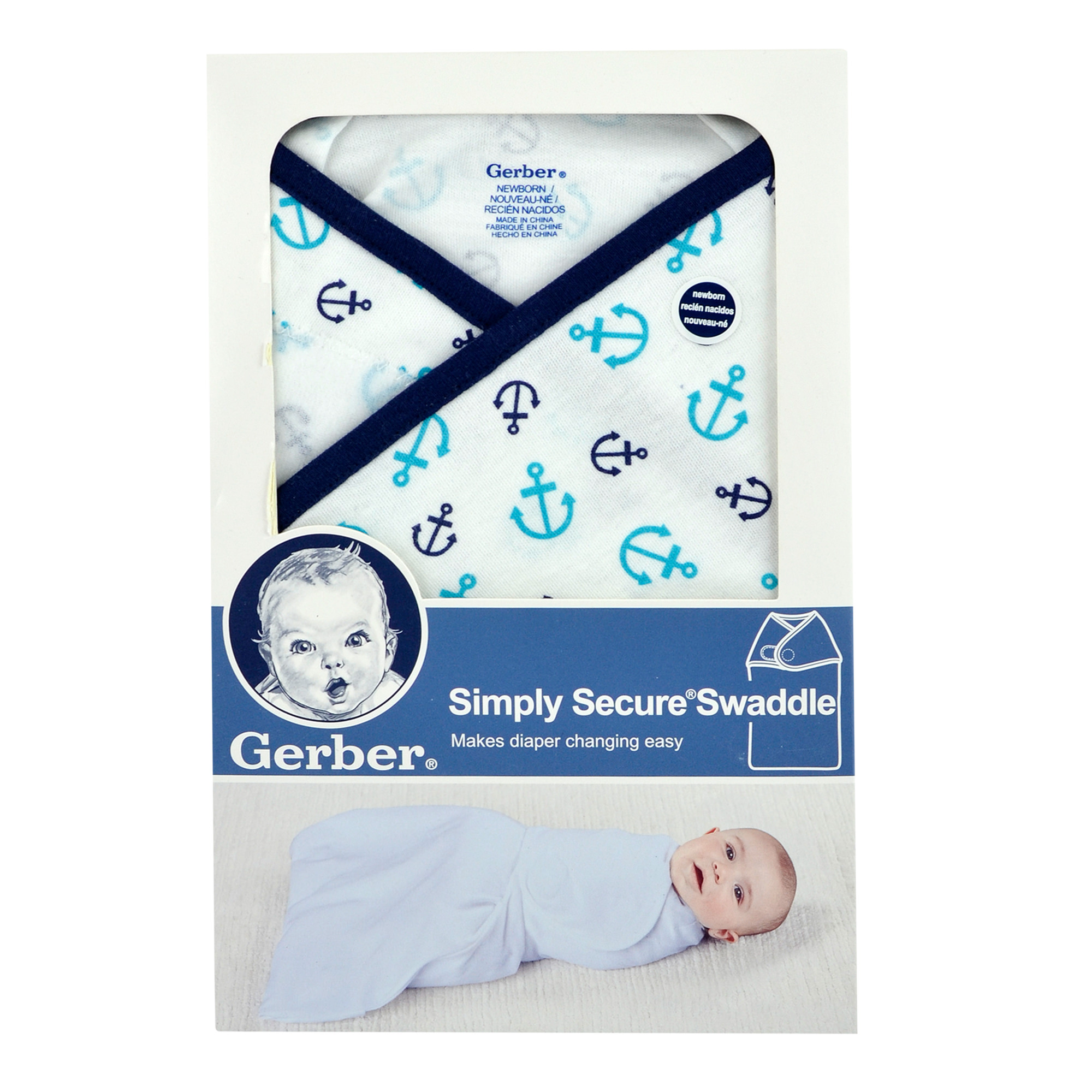Gerber Newborn Baby Boy Simply Secure Swaddle with Easy-Open Bottom
