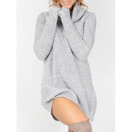 Women's Cowl Neck Loose Long Sleeve Oversize Sweater Jumper Shirt Tops Dress Sleeveless Cowl Neck Dress