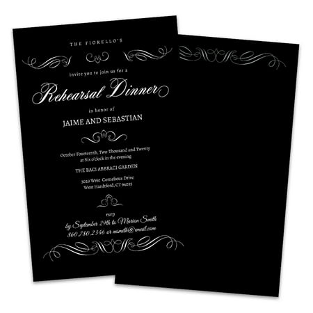 Black and White Scroll Personalized Rehearsal Dinner Invitations](Black And White Wedding Invitations)