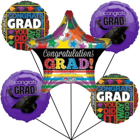 Congrats Grad Cap Graduation Jumbo Star School Colors 6pc Balloon Pack](Gold Fangs Caps)