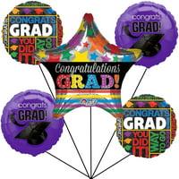 Congrats Grad Cap Graduation Jumbo Star School Colors 6pc Balloon Pack