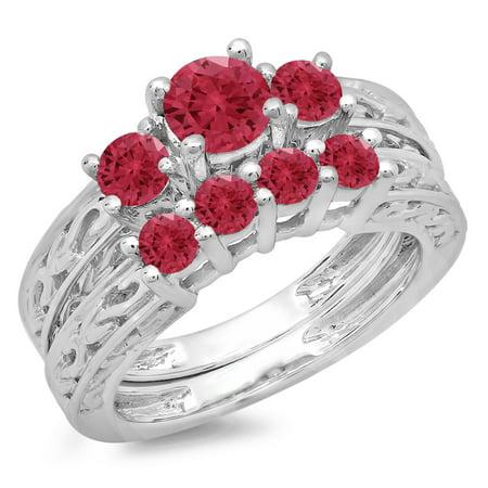 Dazzlingrock Collection 1.50 Carat (ctw) 14K Red Ruby Vintage 3 Stone Bridal Engagement Ring Set 1 1/2 CT, White Gold, Size 8.5