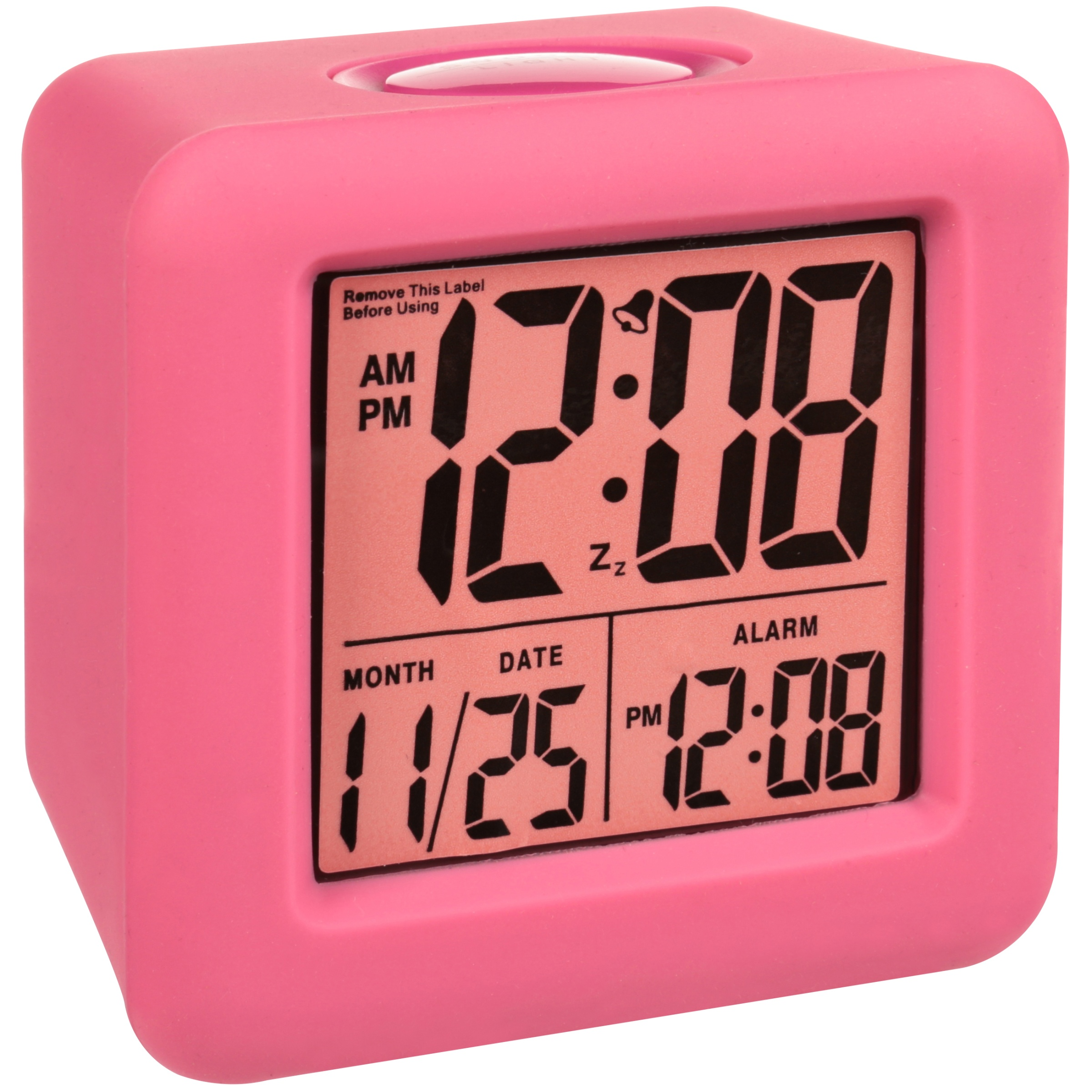 Equity Cube LCD Alarm Clock, Pink