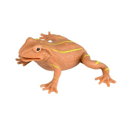 "Brown With Yellow Stripe Rubber 5"" PVC Stretch Frog Decoration Trick Treat Toy"