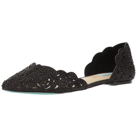 Betsey Johnson Womens Lucy Leather Pointed Toe Bridal, Black Satin, Size 7.5 Betsey Johnson Womens Heart