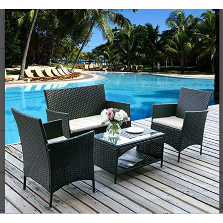 4PC Outdoor Furniture Set,Rattan Wicker Patio Set Cushioned Sectional Sofa &Glass Coffee Table, Garden,Backyard,Lawn Furniture