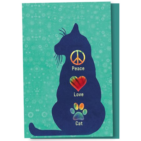 Tree-Free Greetings Peace Love Cat Boxed ECOnotes Blank Note (Peace Note)
