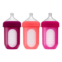 Boon Nursh Reusable Silicone Pouch Baby Bottle, Air-Free Feeding, Pink Multi Pack, 8 Oz, 3 Pk