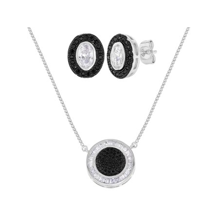 Rhodium Plated Micro Pave Clear Black Crystal Earrings Necklace Jewelry Set Black Rhinestone Jewelry Set