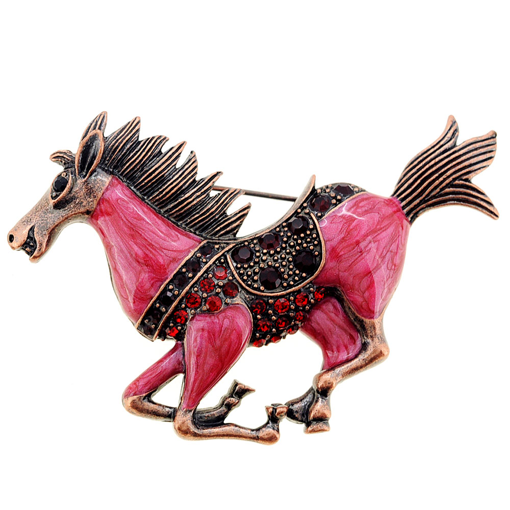 Vintage Style Red Mustang Pin Brooch by