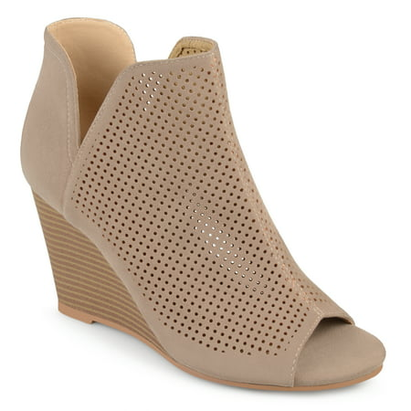 Brinley Co. Womens Faux Suede Laser Cut Open Toe Wedges (Crocs Open Toe Wedge)