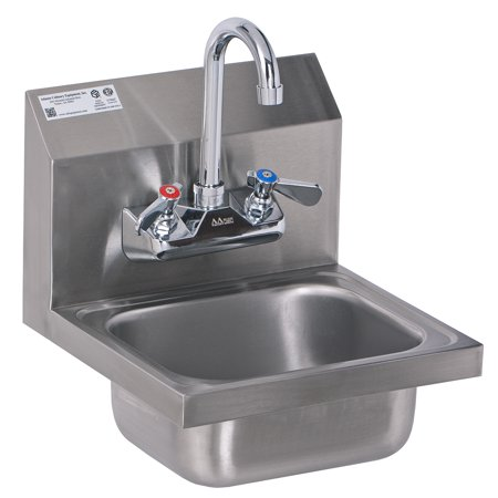 ACE HS-0810WG Mini Stainless Steel Wall Mount Hand Sink with Wall Mount No Lead Faucet and Strainer, 12