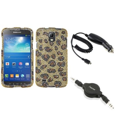 Insten Camel Leopard Diamond Case+Car Charger+Cable For Samsung Galaxy S4 Active i537