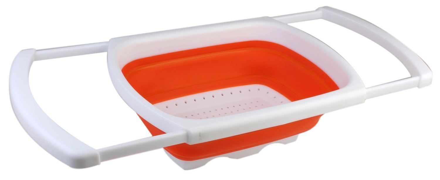 Collapsible Colander Over The Sink, Premium Silicone Kitchen Strainer With  Extendable Handles, Folding Strainer