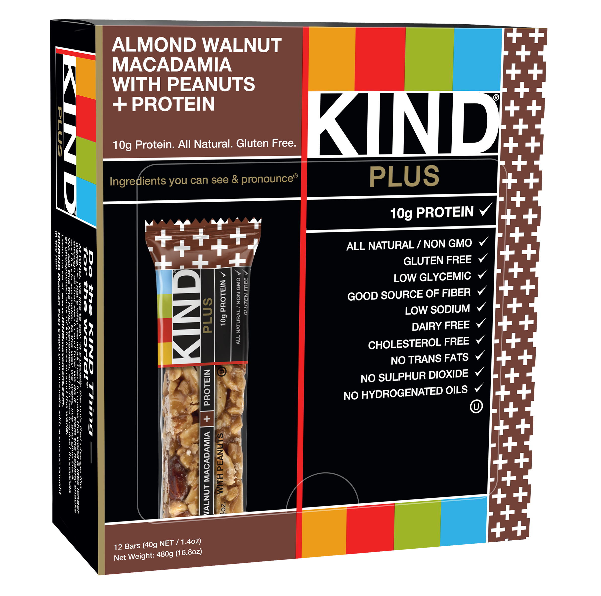 KIND Bars, Almond Walnut Macadamia with Peanuts + 10g Protein, 12 Bars, Gluten Free