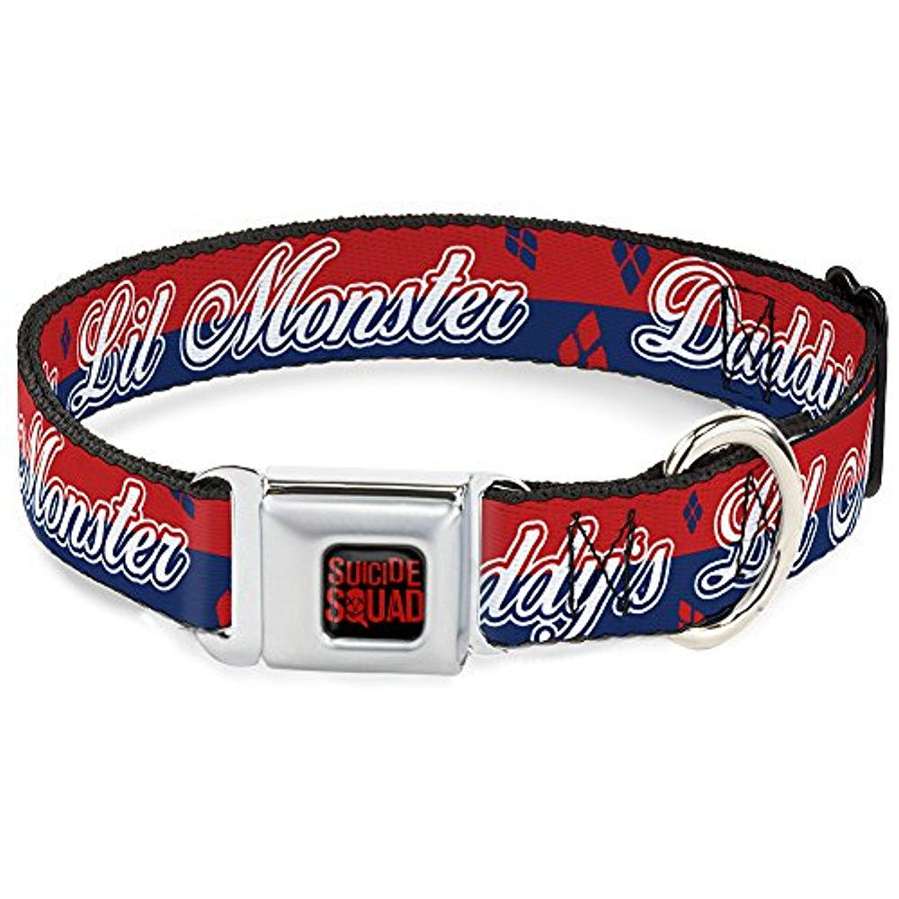"Buckle-Down 15-26"" Harley Quinn DADDY'S LITTLE MONSTER Diamonds Stripe Red Blue White Dog Collar, Large by"