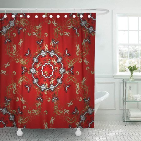 KSADK Traditional Orient On Red Black and Brown Colors with Golden Classic Vintage Pattern Shower Curtain 66x72 inch ()